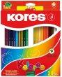 Színes ceruza készlet hatszögletű Kores Hexagonal 24 szín