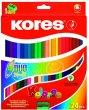 Színes ceruza készlet kétvégű háromszögletű Kores Duo 24 szín
