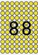 Etikett 16mm kör színes A5 ív Apli sárga 704 etikett/csomag