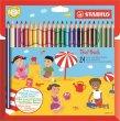Színes ceruza készlet vastag háromszögletű Stabilo Trio 24 különböző szín