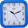 Falióra négyzet alakú 25,5x25,5cm kék keretes Secco Sweep second