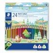 Színes ceruza készlet háromszögletű Staedtler Noris Colour 24 különböző szín