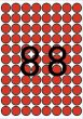 Etikett 16mm kör színes A5 ív Apli piros 704 etikett/csomag