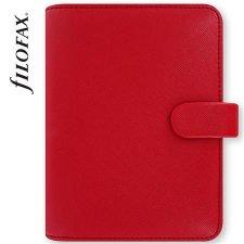 Kalendárium gyűrűs betétlapokkal pocket méret Filofax Saffiano piros #1