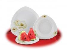 Desszertes tányér porcelán 19cm átmérőjű Rotberg fehér mákvirág mintával #1