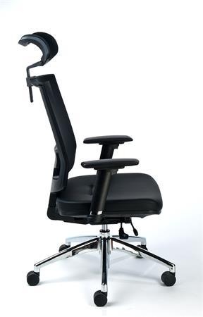 Exkluzív fejtámlás irodai szék fekete bőrborítás hálós